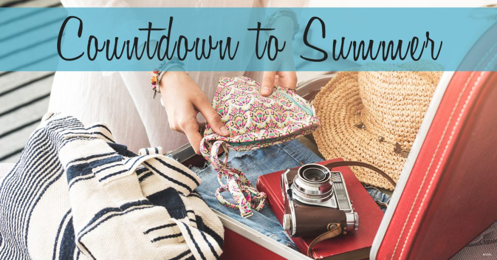 Woman packs a bikini top, camera, red hardbound book, floppy straw hat, jeans, and other summer favorites in a red suitcase.
